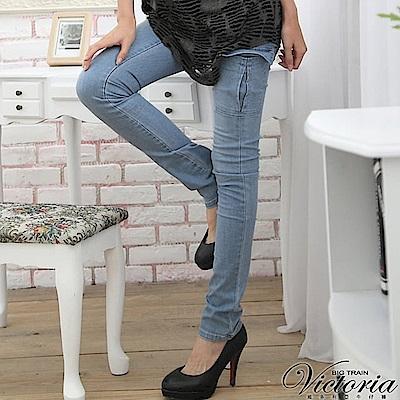Victoria 側貼袋小直筒褲-女-淺藍
