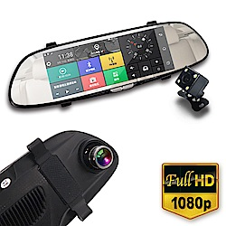 IS愛思 RV-06XW 7吋智慧導航雙鏡頭後視鏡1080P高畫質行車紀錄器