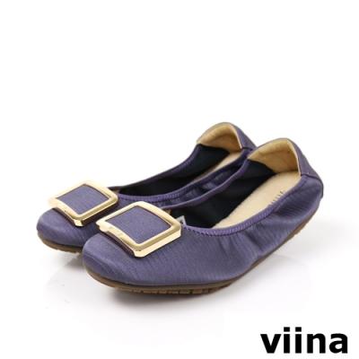 viina 方頭蜥蜴紋金邊方釦摺疊娃娃鞋-灰紫