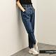 H:CONNECT 韓國品牌 女裝 -紙袋褲頭高腰Baggy牛仔褲-深藍色 product thumbnail 1