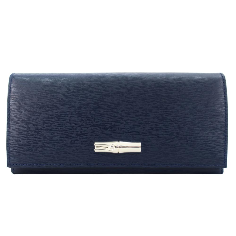 Longchamp Roseau竹節翻蓋長夾-深藍色LONGCHAMP