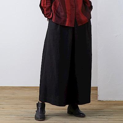旅途原品_厚朴_原創設計品質羊毛傘型半身裙-黑色