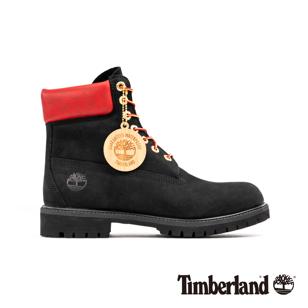 Timberland 男款黑色磨砂革圖騰紅領經典6吋靴|A244D
