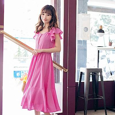 iMODA STAR-臧芮軒。排釦設計荷葉袖長洋裝
