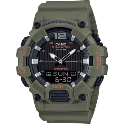 CASIO 絕地武士數字指針雙顯男錶-墨綠色系(HDC-700-3A2)/30mm
