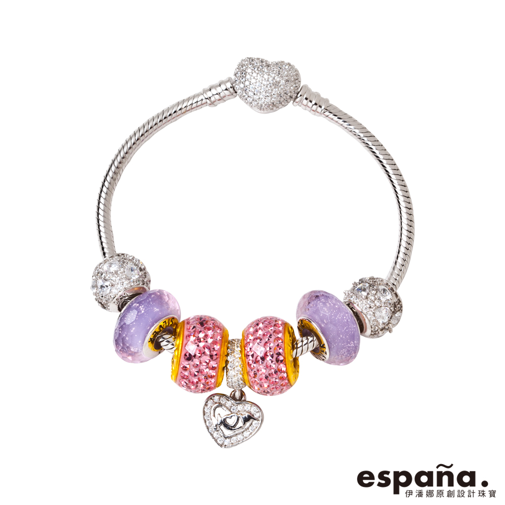 ESPANA伊潘娜 甜美初戀黃金/純銀/琺瑯/琉璃串珠手鍊