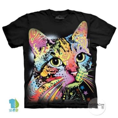 摩達客-美國進口The Mountain 彩繪卡通貓 純棉環保藝術中性短袖T恤(大尺碼4 5XL)