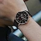 ADEXE 英國時尚手錶 THEY三眼系列 黑錶盤x玫瑰金錶框 皮革錶帶41mm