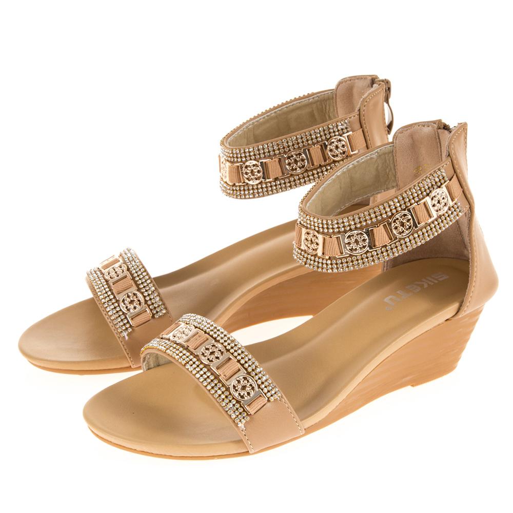 JMS-華麗鑽飾金屬一字環裸楔形涼鞋-杏色