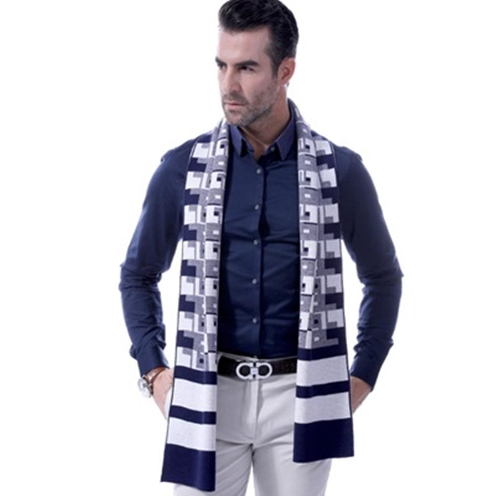 米蘭精品 羊毛圍巾秋冬防寒男女披肩-商務紳士幾何圖形情人節生日禮物3色73ts5