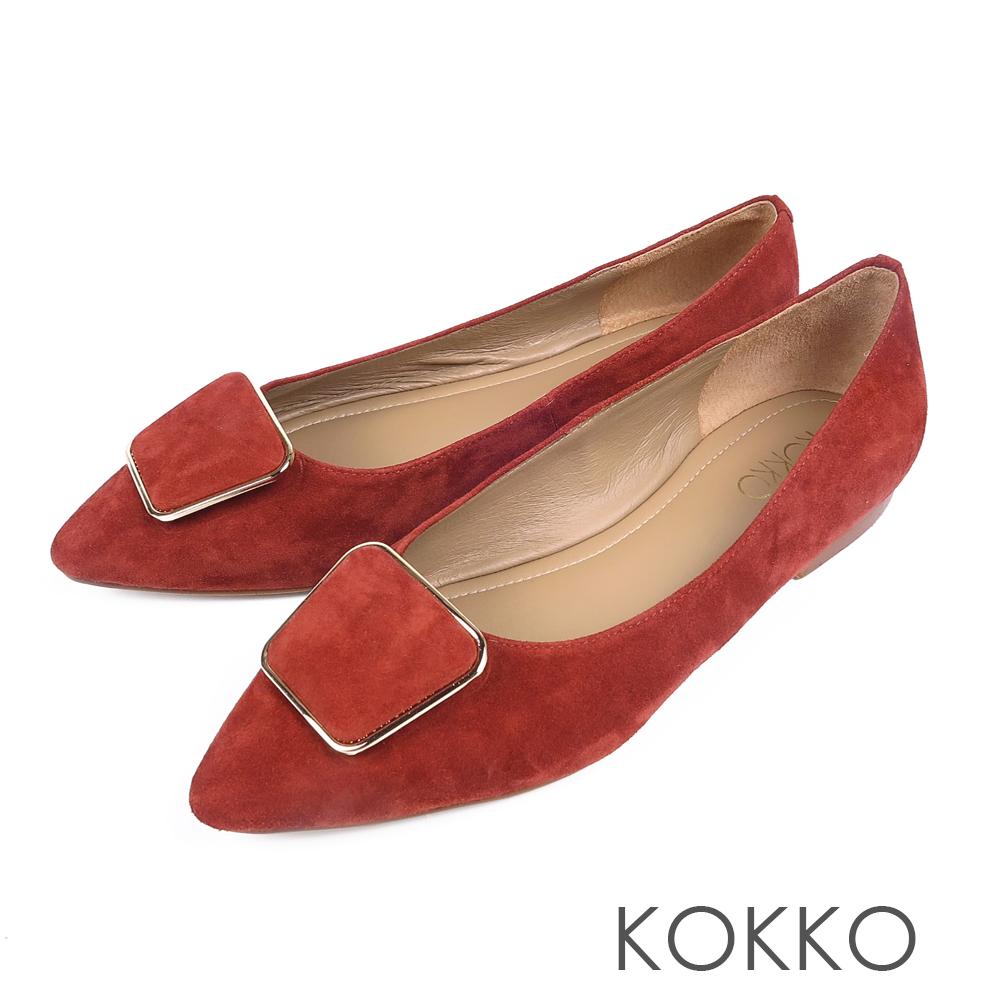 KOKKO -通勤蜜糖真皮方扣尖頭平底鞋-紅梨