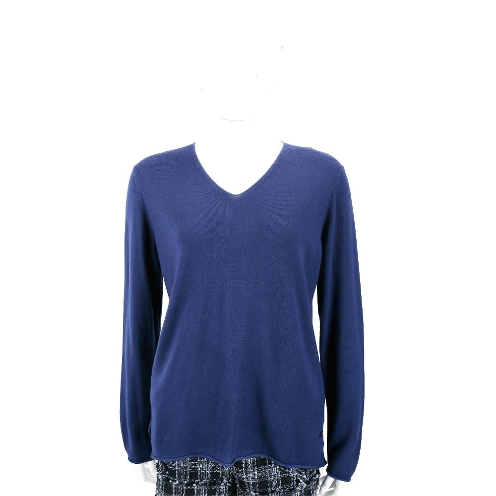 Andre Maurice 喀什米爾藍紫色V領捲邊細節羊毛衫 @ Y!購物