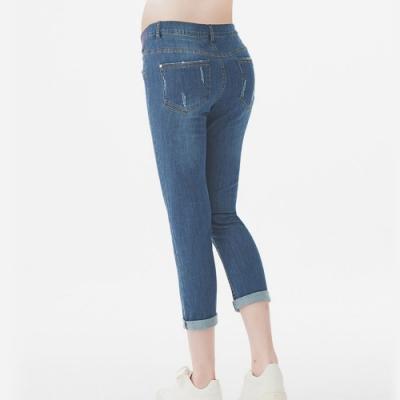 Gennies奇妮-刷白造型修身牛仔九分褲-藍(T4E01)
