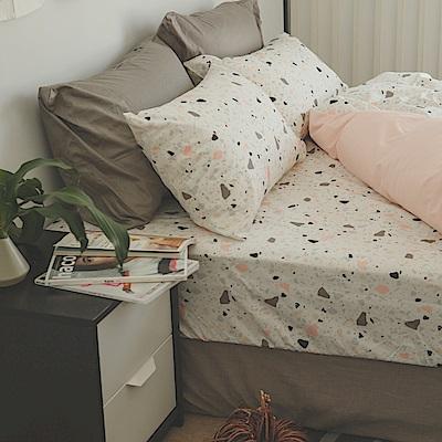 翔仔居家 台灣製 100% 精梳純棉薄被套床包3件組 - 單人(石礫)