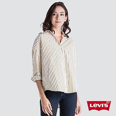 Levis 女款 襯衫 直條紋 前短後長