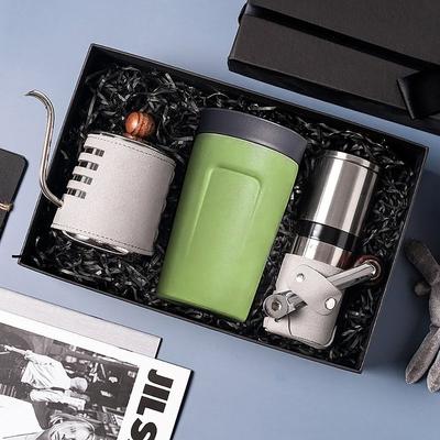 【PO:Selected】丹麥手沖咖啡三件禮盒組(咖啡壺-灰/隨行保溫咖啡杯-綠/咖啡磨2.0)