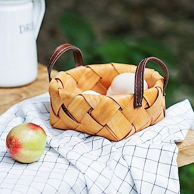 Homely Zakka 木趣食光手工木片手提編織籃/野餐籃/收納籃(小)