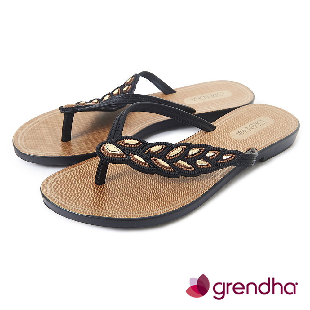 Grendha 黃金麥穗人字帶夾腳鞋-黑色