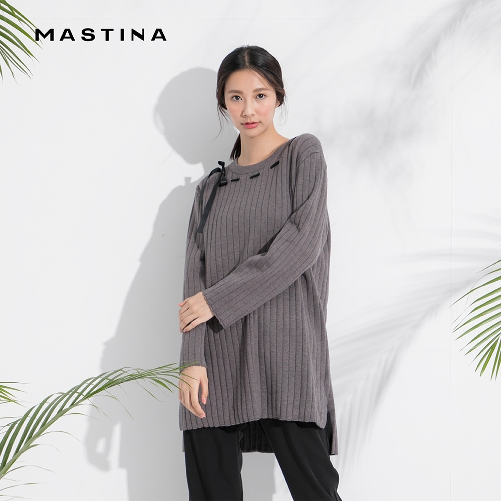 【MASTINA】緞帶穿線設計長版-針織衫(三色)