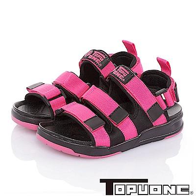 (雙11)TOPUONE 腳床型輕量可調式運動休閒涼鞋童鞋-桃