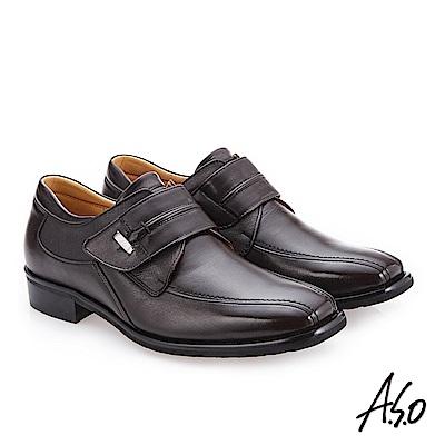 A.S.O 菁英通勤 寬楦羊皮真皮鞋 咖啡