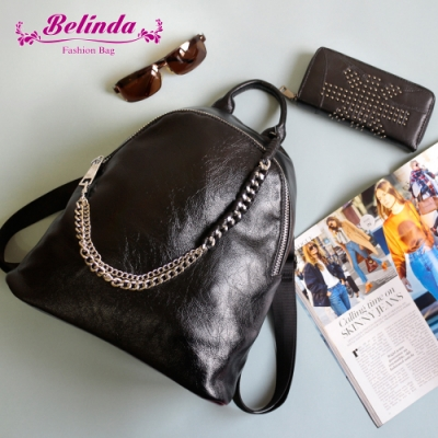【Belinda】美式率性鍊條後背包(黑色)