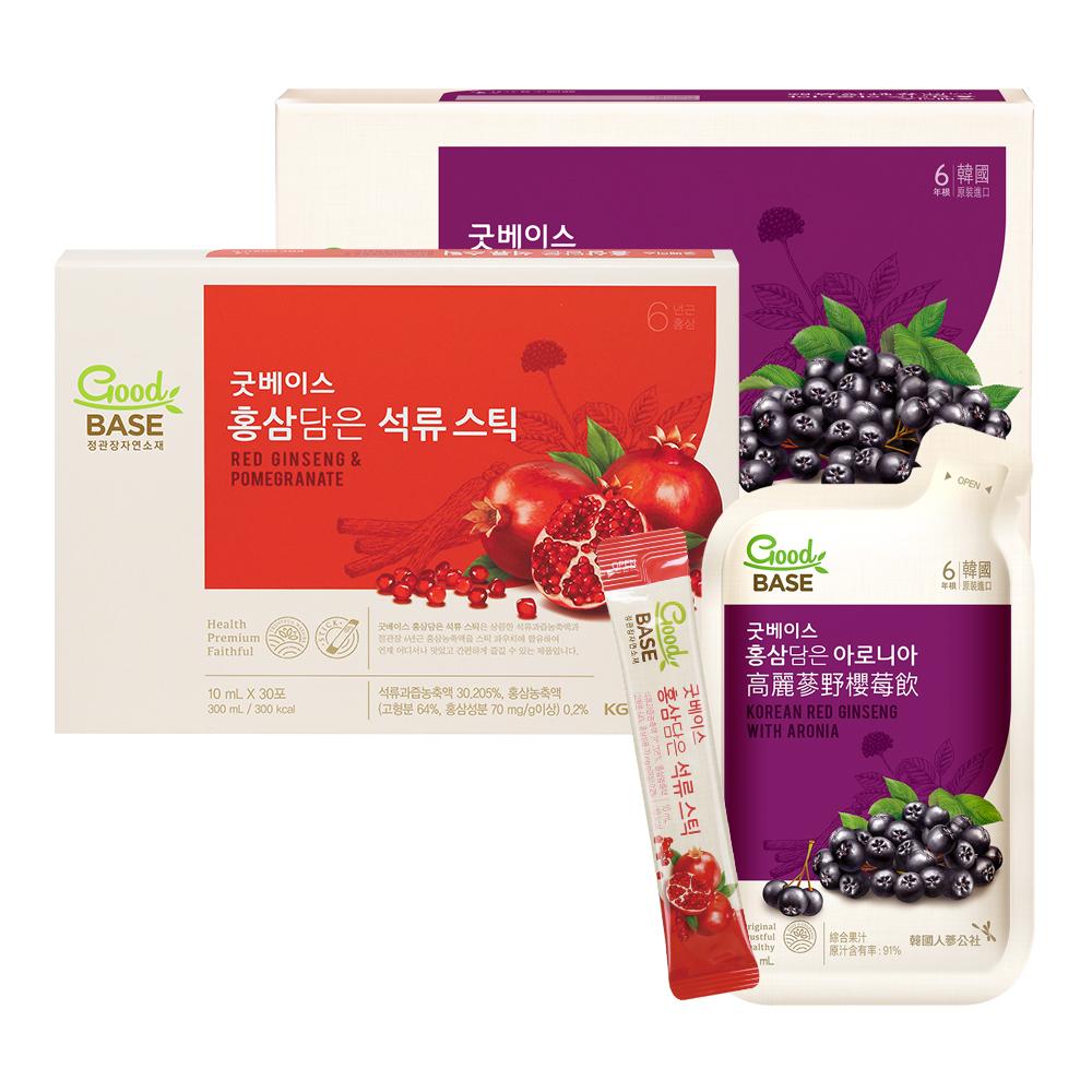 【正官庄】高麗蔘野櫻莓飲 (50mlX30入)+高麗蔘石榴精華飲-STICK (30入/盒)