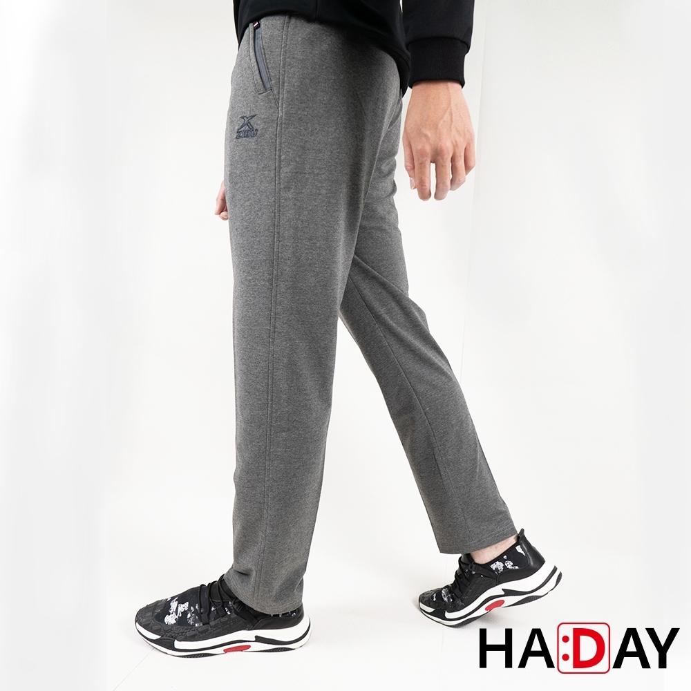 HADAY 男褲長褲 休閒運動棉褲 舒適好穿 簡約刺繡 拉鍊款 灰色