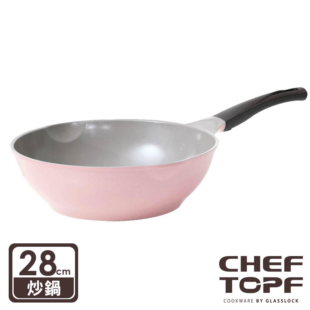 韓國 Chef Topf 薔薇系列28公分不沾炒鍋-粉色