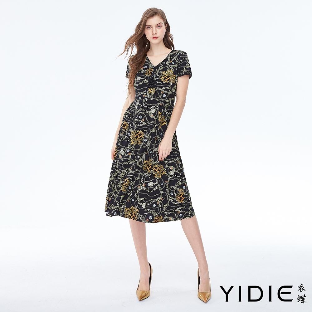 YIDIE衣蝶 V領小愛風鎖鏈印花洋裝