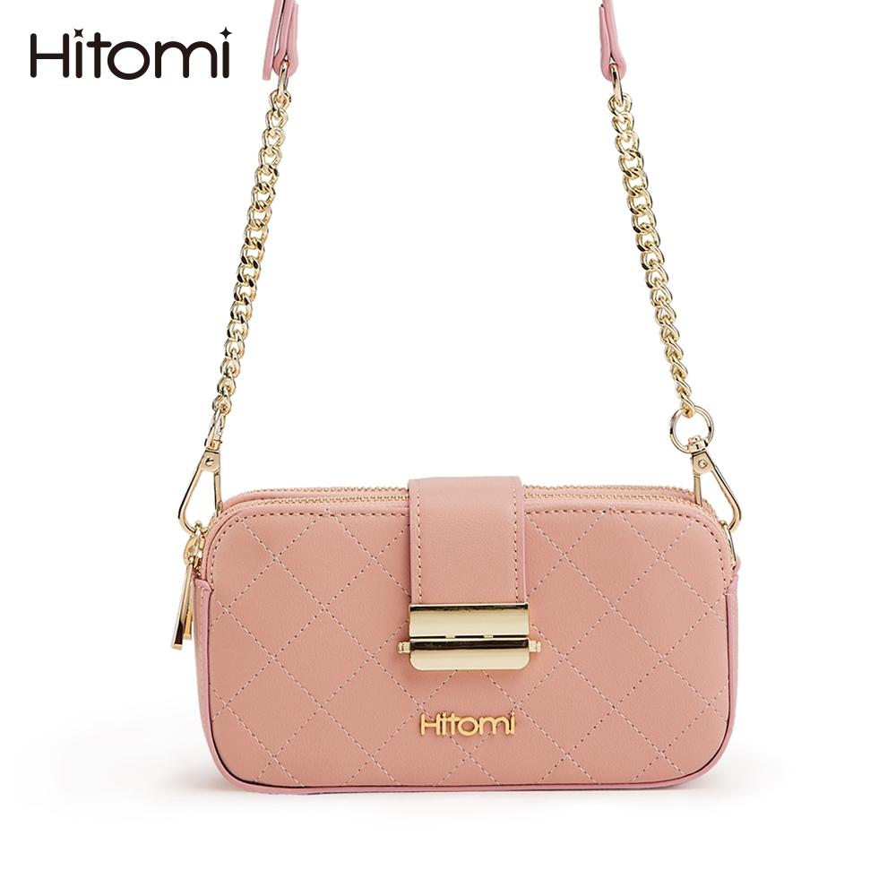 【Hitomi】格子鬆餅相機包/肩背包/斜背包(草莓果醬粉色53068PN)