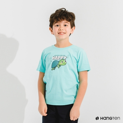 Hang Ten- 中性童-Big Blue有機棉印花短袖T恤-綠色