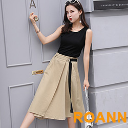 素面圓領上衣+高腰不對稱長裙兩件套 (共二色)-ROANN