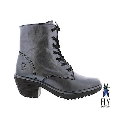 Fly London(女) 吉普賽的足跡 粗跟綁帶牛皮短靴-極光銀