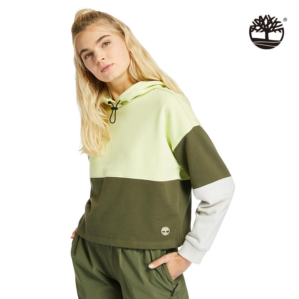 Timberland 女款軍綠亮綠色拼接短版連帽上衣|A2CUD