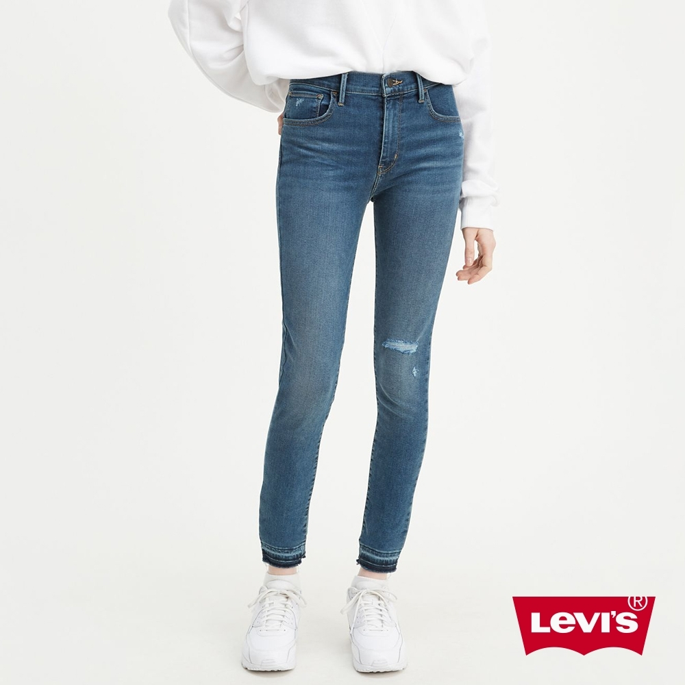 Levis 女款 720 高腰超緊身窄管 超彈力牛仔褲 抓鬚磨破 下放褲管