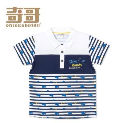 奇哥 鯨魚狂想條紋POLO衫 (4-5歲)