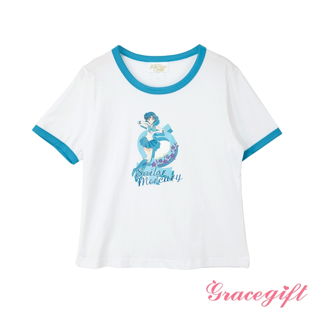 Grace gift-美少女戰士聯名滾邊T恤 藍