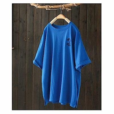 簡約風寬鬆卡通刺繡純棉短袖t恤上衣-設計所在