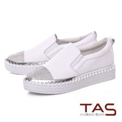 TAS 沖孔拼接燙鑽縫線厚底休閒鞋-時尚白