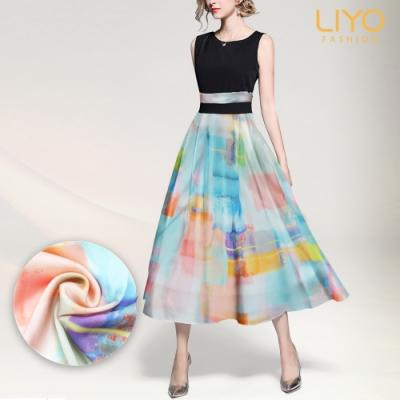 洋裝-LIYO理優-圓領水彩渲染印花洋裝