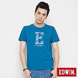 EDWIN 海浪紋E字印花短袖T恤-男-灰藍