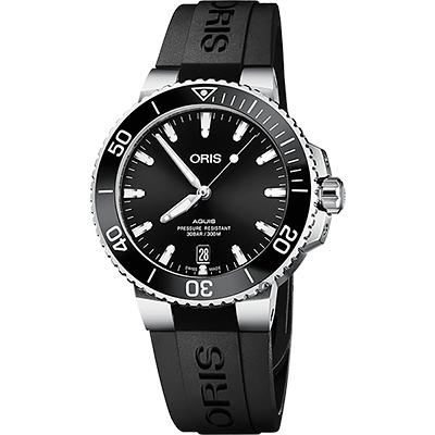 ORIS 豪利時 Aquis 時間之海300米潛水機械錶-黑/39.5mm