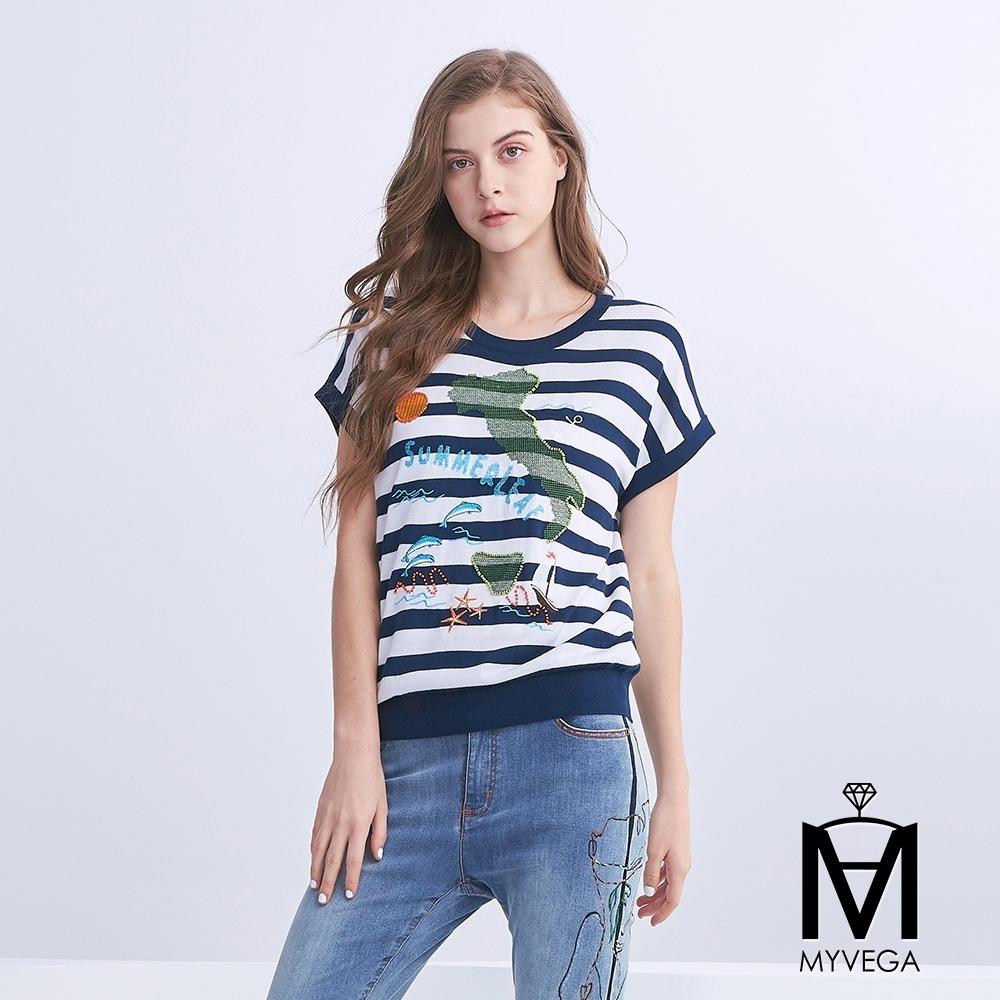 麥雪爾 MA地中海風格圖條紋針織衫-黑