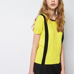 ICHE 衣哲 簡約百搭撞色針織造型上衣 (黃)