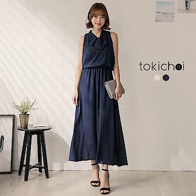 東京著衣 輕甜漫步領綁帶無袖洋裝-S.M(共二色)