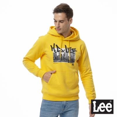 Lee 連帽厚T 黑白城市照片文字印刷 男 黃