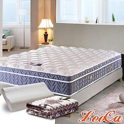 (破盤組)LooCa 國際護背型三線天絲獨立筒床墊-加大6尺