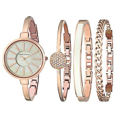 Anne Klein 璀璨金漾絕美腕錶 施華洛世奇美鑽手錶手鍊套組-白x32mm