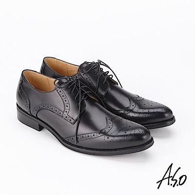 A.S.O  3D超動能 綁帶蠟感牛皮奈米紳士鞋 黑